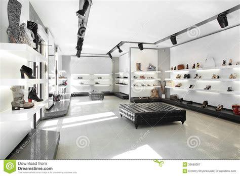 luxury shoe store  bright interior royalty  stock