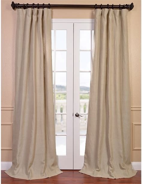 Natural French Linen Lined Curtain Panel Contemporary
