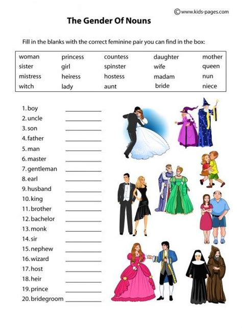 kids pages nouns gender people thngs to remember