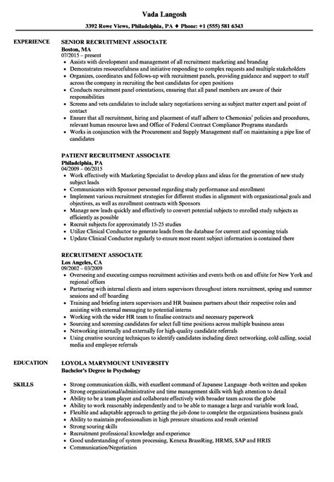 Recruiting Resume by Recruitment Associate Resume Sles Velvet