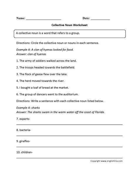 nouns worksheets collective nouns worksheets