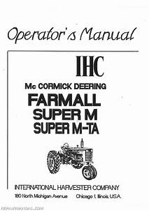 International Harvester Farmall Super Mta Mvta Operators Manual