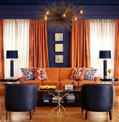orange curtains  upholstery  dark grey walls