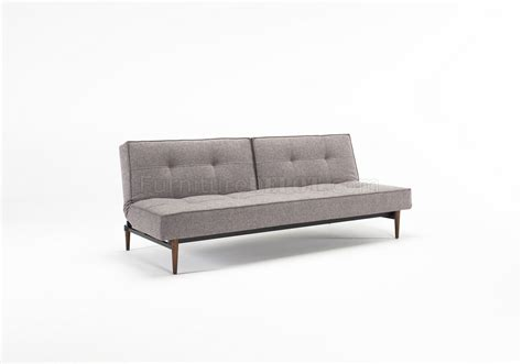 Splitback Sofa Bed In Gray W/wooden Legs By Innovation W