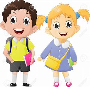 Boy And Girl Going To School Clipart - ClipartXtras