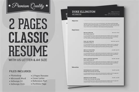 Classic 2 Resume Template by Two Pages Classic Resume Cv Template Resume Templates On Creative Market