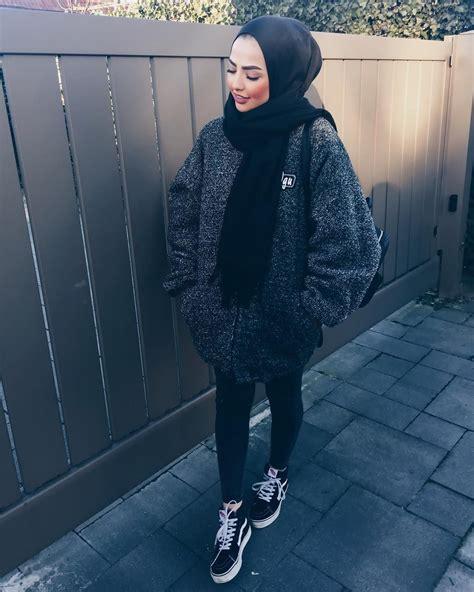 sauf black hijabscarf black gray white blend