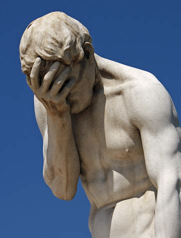 Facepalm Statue Holding Head In Hand Stock Photo ...