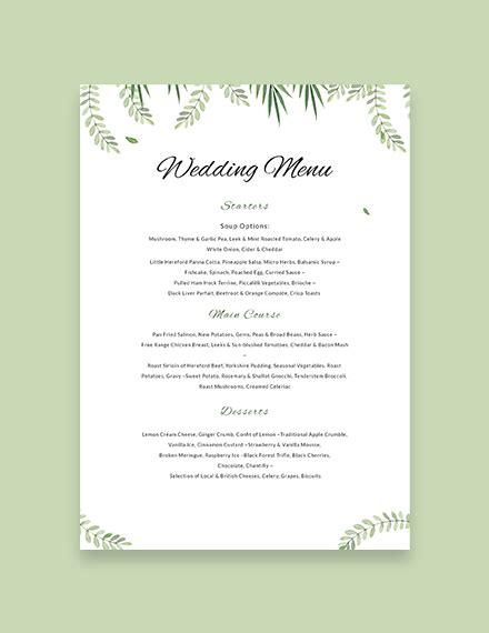 sample wedding menu template   menus
