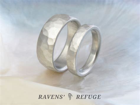 rustic wedding rings his hers wedding band set ravens
