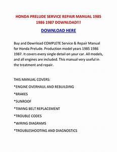 Honda Prelude Service Repair Manual 1985 1986 1987