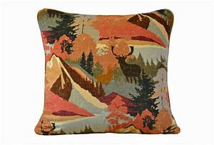 Very autumnal, this fabulous scatter cushion in Hudson Bay