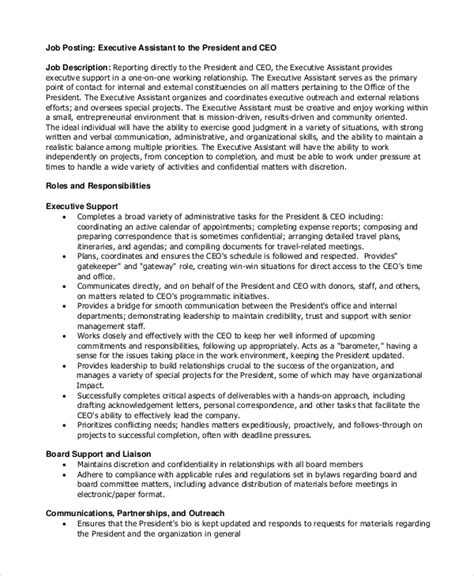 It has come to our attention that several agencies or persons, are claiming to be acting on world vision's behalf in recruiting or facilitating the recruitment of personnel. FREE 8+ Sample Executive Assistant Job Description Templates in PDF | MS Word