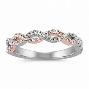 double halo infinity engagement ring in 14k white and rose With infinity twist wedding ring