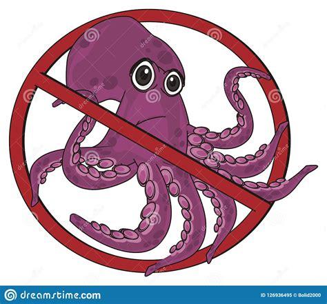Sad Octopus On Ban Stock Illustration Illustration Of