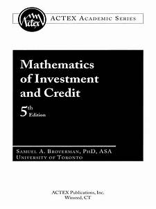 Mathematics Of Investment And Credit 5th Edition Pdf