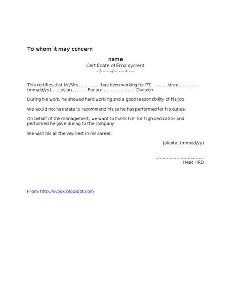 contoh surat pengalaman kerja referensi paklaring rekomendasi