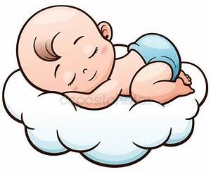 Vector ilustración de dibujos animados bebé durmiendo ...
