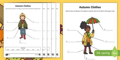 autumn clothes worksheet    images clothes