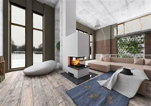Moderne Kamine Als Raumteiler : raumteiler 3seitig mit holzregal ~ Markanthonyermac.com Haus und Dekorationen