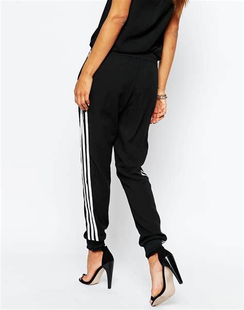 cuffed sweatpants for lyst adidas originals 3 stripe cuffed sweat in black