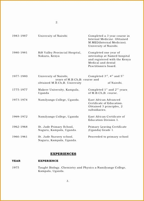 cv template  south africa  samples examples