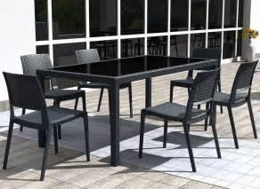 table de jardin en r 233 sine tress 233 e gris fonc 233 tahiti