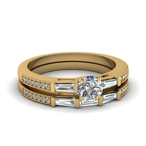 delicate baguette with wedding in 14k yellow gold fascinating diamonds