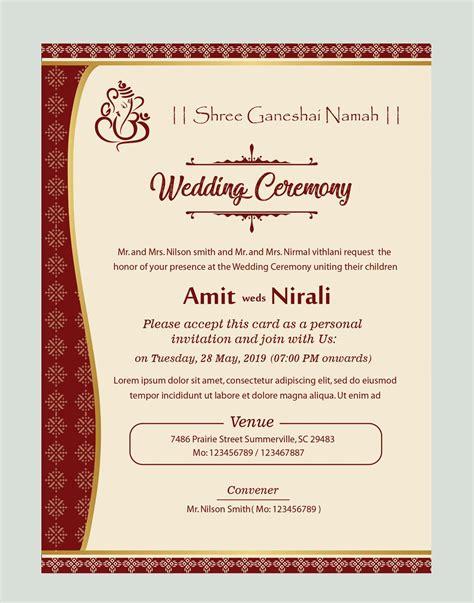 free kankotri card template Wedding card design Wedding