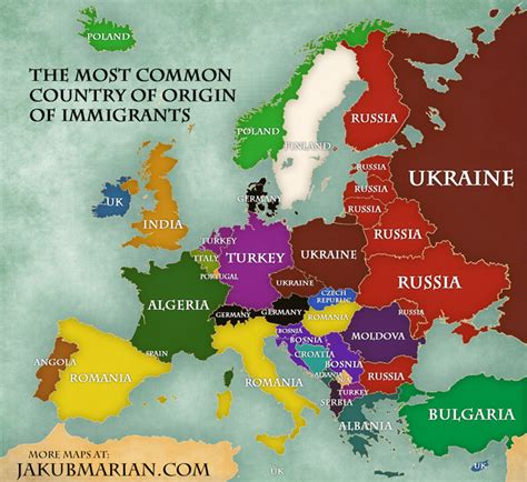 immigration  europe map  percentages  countries
