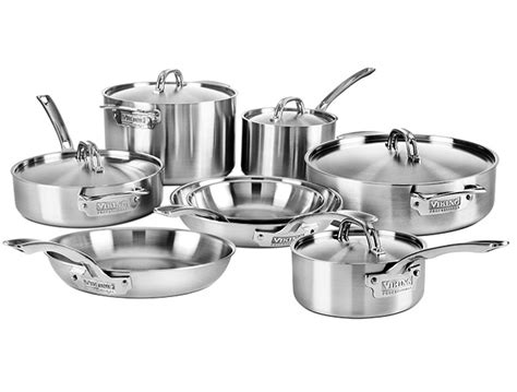 viking cookware set  ply pro stainless steel  piece cutlery