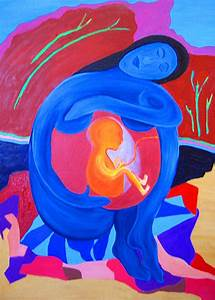 Mother And Child Painting by Seshadri Sreenivasan