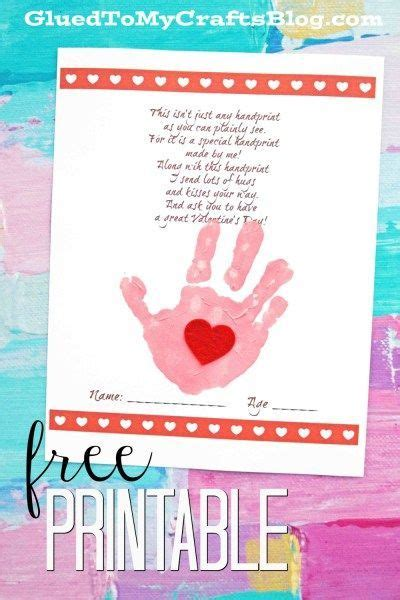 handprint valentine poem keepsake printable preschool