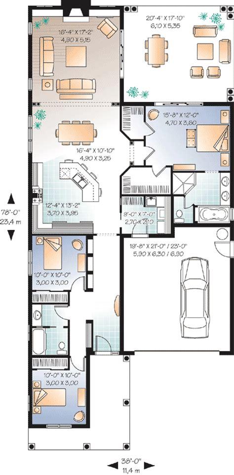 Narrow Lot Florida House Plan 21650DR 1st Floor Master