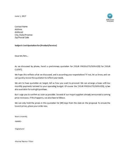 quotation cover letter templates