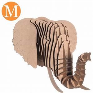 Trophée Animaux Carton : troph e t te d 39 elephant en carton brun medium ~ Melissatoandfro.com Idées de Décoration