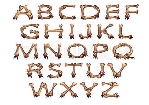 Alphabet With Bones Isolated On A White Background