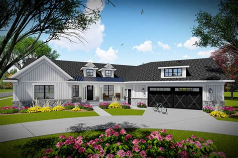 bed modern farmhouse ranch home plan  angled garage ah architectural designs