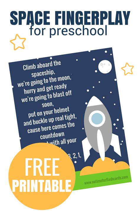 space fingerplay for preschool free printable no time 151 | Space Fingerplay for preschool