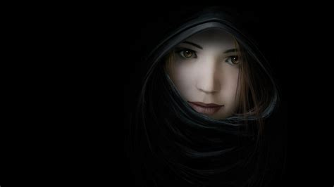 Women Closeup Cgi Faces Black Backgroundfreehd