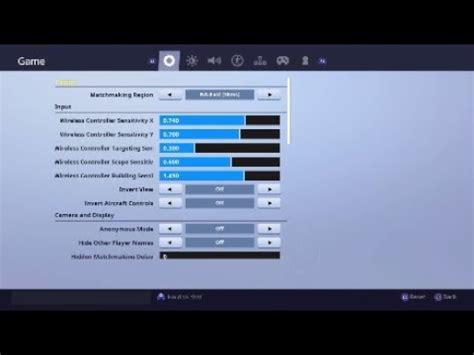 console controller settings  season  fortnite