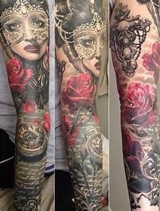 Tatouage Bras Complet Femme : r aliste tatouage bras complet rose portait femme et boussole ~ Melissatoandfro.com Idées de Décoration