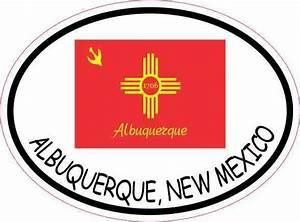 4 x 3 oval albuquerque new mexico flag sticker vinyl car With vinyl lettering albuquerque