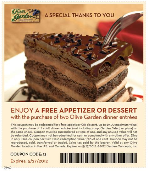 It was as if the entire restaurant had been cryogenically frozen since my last visit, existing untouched by time. Olive Garden Deal!   Olive garden coupons, Free appetizer, Free desserts