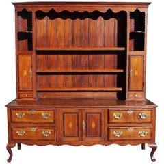 large inlaid limed oak welsh dresser  sale  stdibs