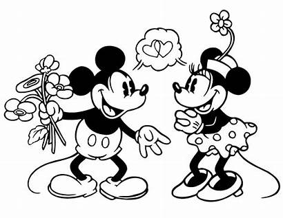 Coloring Mickey Minnie Disney Mouse Pages Valentines