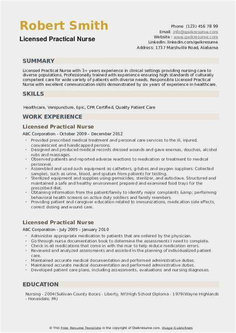 lpn resume skills  collection  collections