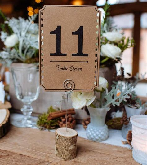 set   brown card table numbers   wedding