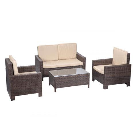 wicker settee set 4pc pe rattan wicker sofa set cushion outdoor patio sofa
