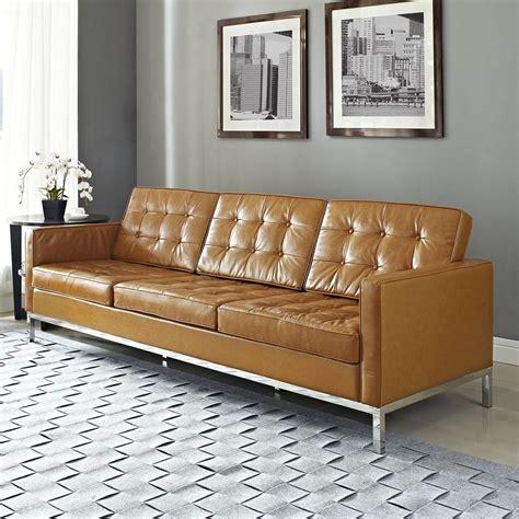 Shop Modway Loft Tan Leather Sofa At Lowes